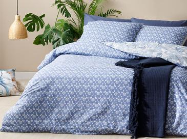 Morris Pamuklu Çift Kişilik Nevresim Seti 200x220 Cm Mavi