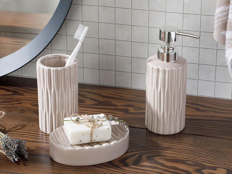 Pure Seramik 3'lü Banyo Seti 17,5x11,9x12,5 Cm Açık Gri