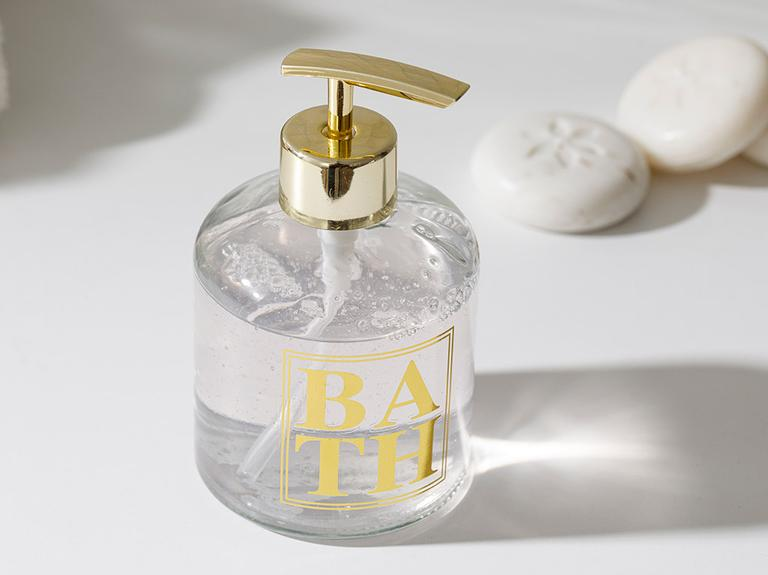 Casa Cam Banyo Sıvı Sabunluk 8x14 Cm Gold