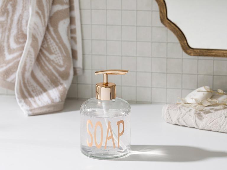 Elsa Cam Banyo Sıvı Sabunluk 8x14 Cm Rose Gold