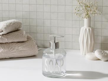 Elsa Cam Banyo Sıvı Sabunluk 8x14 Cm Gümüş