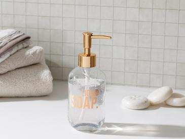 Modest Cam Banyo Sıvı Sabunluk 7,2x18,5 Cm Rose Gold