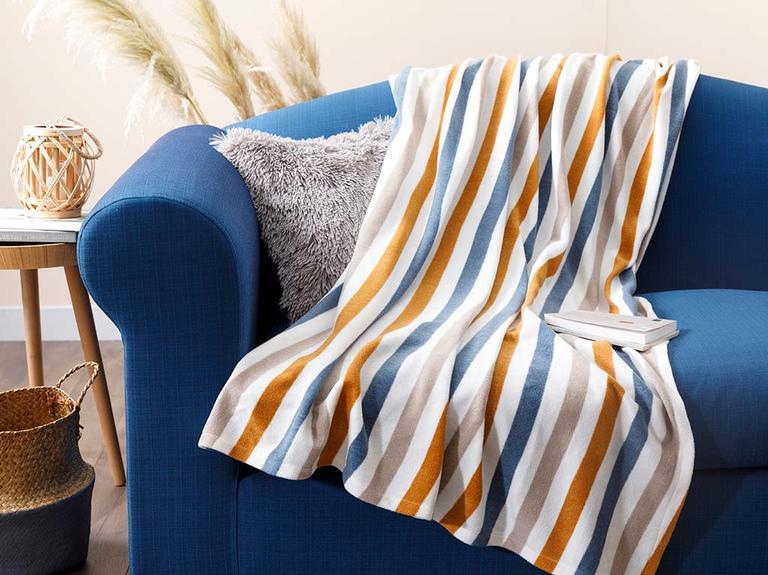 Stripe Polar Tv Battaniye 120x170 Cm Hardal