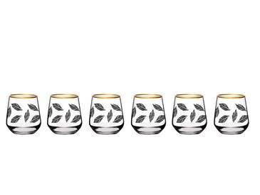 Birdena Cam 6'lı Kahve Yanı Su Bardağı 115 Ml Siyah-gold