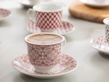 Arista Porselen 12 Parça Kahve Fincan Takımı 90 Ml Bordo