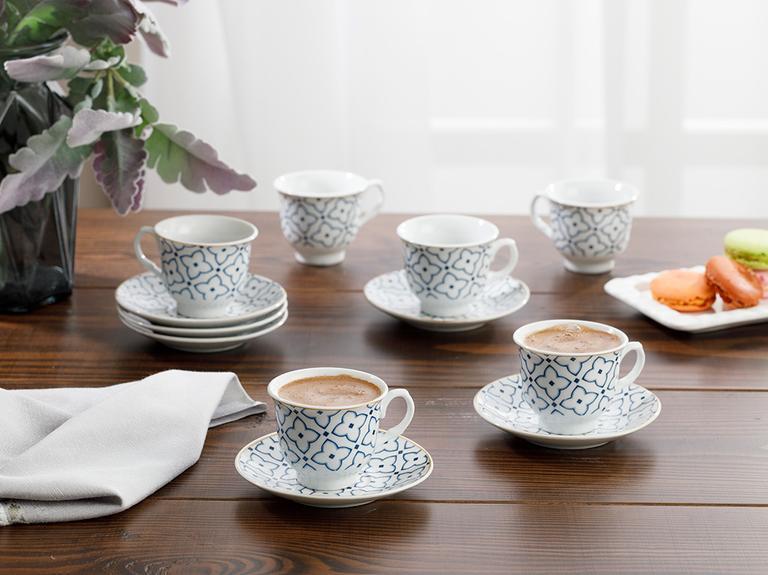 Belize Porselen 12 Parça Kahve Fincan Takımı 90 Ml Mavi - Kırık Beyaz