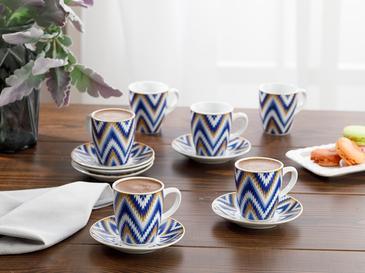 Eva Porselen 12 Parça Kahve Fincan Takımı 100 Ml Mavi