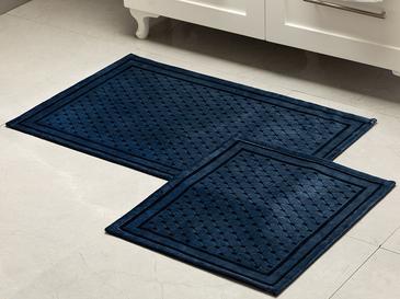 Velvet Touch Kadife Banyo Paspası Seti 60x90 Cm + 50x60 Cm İndigo