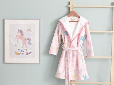 Unicorns Kadife Çocuk Bornoz 4-6 Yaş Pembe