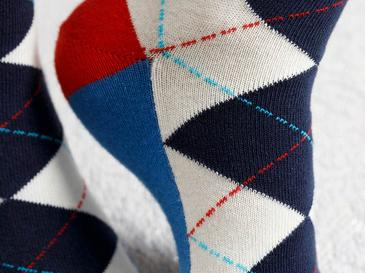 Plaid Wreath Pamuk Kadın Çorap Beyaz - Lacivert