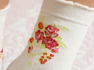 Flower Pamuk Çorap Standart Krem
