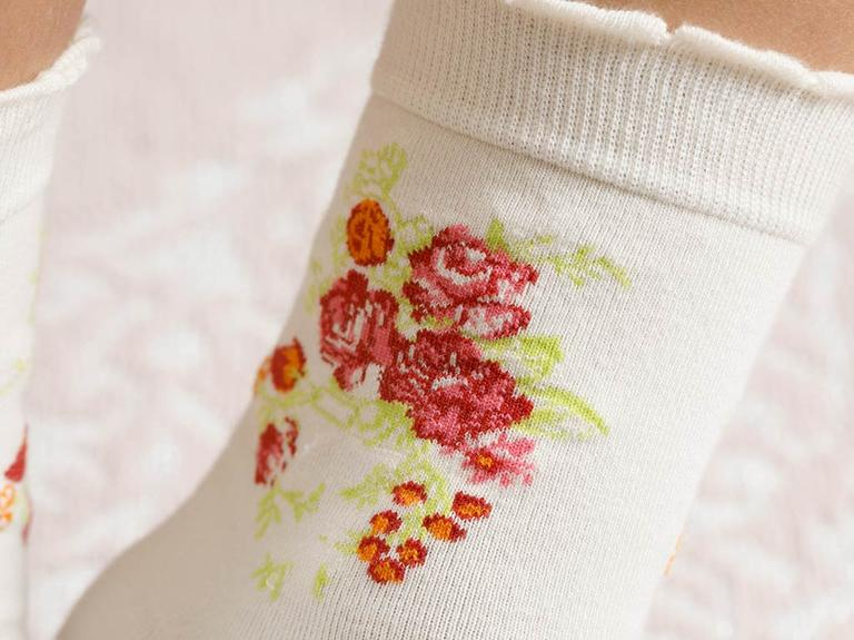 Flower Pamuk Kadın Çorap Krem