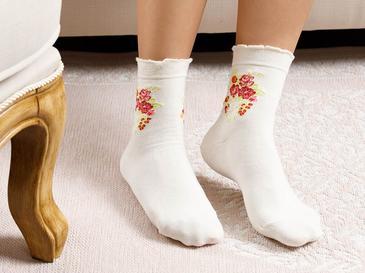 Flower Pamuk Kadın Çorap Standart Krem