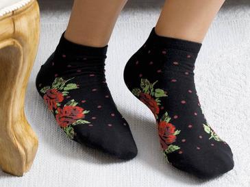 Flower Dots Pamuk Kadın Çorap Standart Siyah