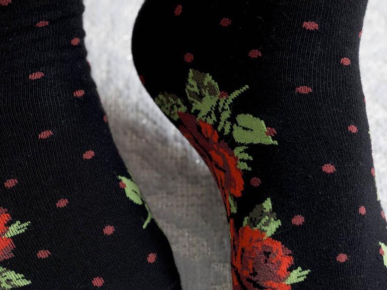 Flower Dots Pamuk Kadın Çorap Siyah