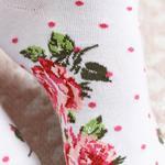 Flower Dots Pamuk Kadın Çorap Beyaz