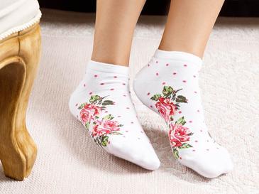 Flower Dots Pamuk Çorap Standart Beyaz