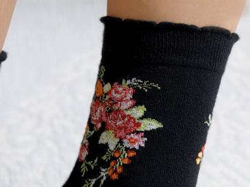 Flower Pamuk Kadın Çorap Standart Siyah