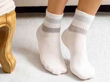 Soft Stripe Pamuk Kadın Çorap Standart Beyaz