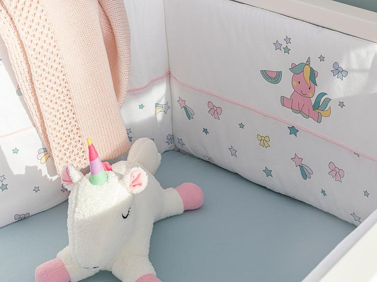 Mini Unicorn Tek Kişilik Bebe Yatak Kenar Koruma 40x200 Cm Pembe