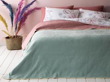Plain Pamuklu Tek Kişilik Battaniye 150x200 Cm Pembe - Mint