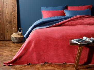 Plain Pamuklu Çift Kişilik Battaniye 200x220 Cm Kırmızı - Lacivert