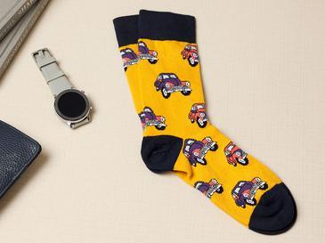 Peace Bus Pamuk Erkek Çorap Standart Sarı