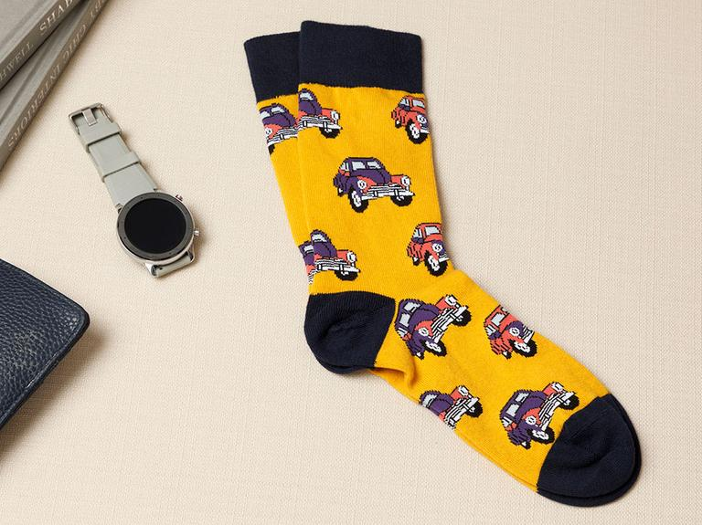 Peace Bus Pamuk Erkek Çorap Sarı