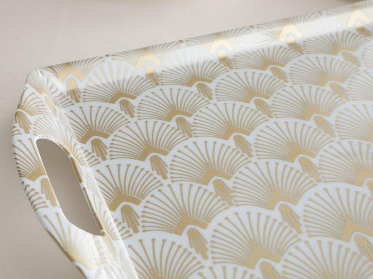 Golden Life Melamin Tepsi 45x31 Cm Beyaz