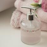 Allure Rosa Cam Banyo Sıvı Sabunluk 8x14 Cm Gümüş