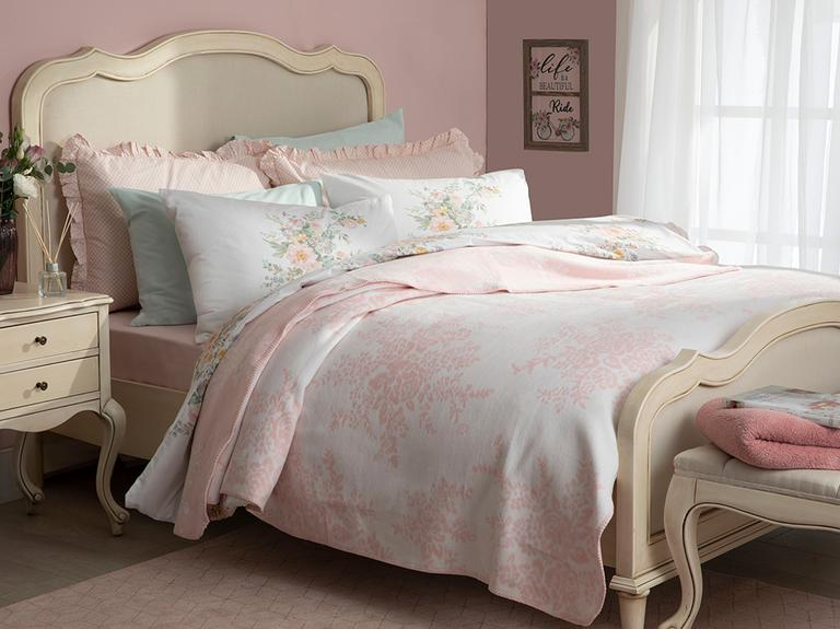 Rosita Pamuklu Çift Kişilik Battaniye 200x220 Cm Pembe-beyaz