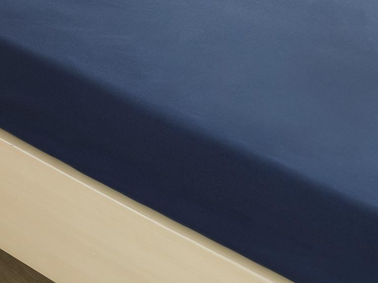Düz Pamuklu Çift Kişilik Lastikli Çarşaf 160x200 Cm Gece Mavisi
