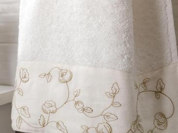 Petit Fleurs Bordürlü Yüz Havlusu 50x80 Cm Ekru-bej