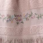 Floral Stripe Nakışlı Yüz Havlusu 50x80 Cm Nude