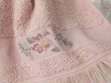 Floral Stripe Nakışlı El Havlusu 30x45 Cm Nude