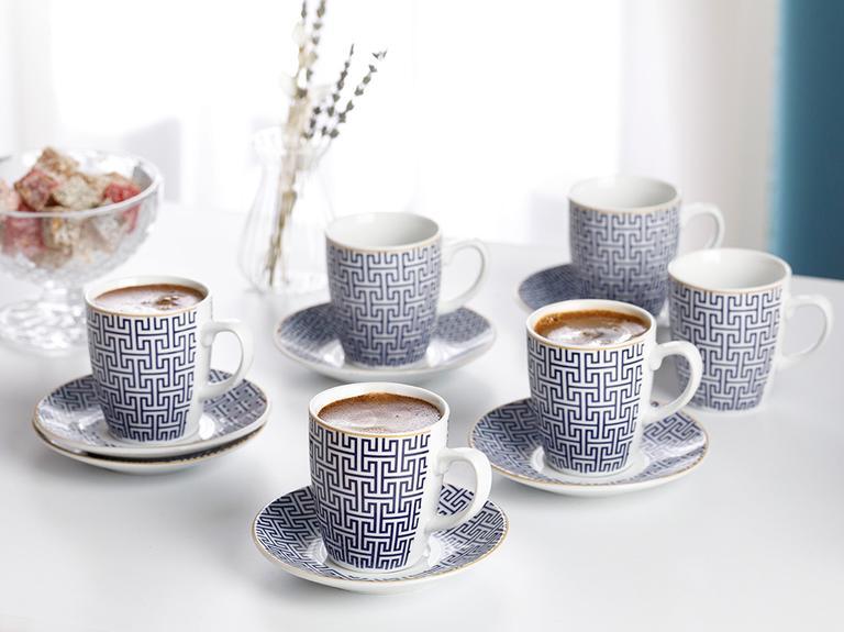 Fiore Porselen 12 Parça Kahve Fincan Takımı 100 Ml Mavi