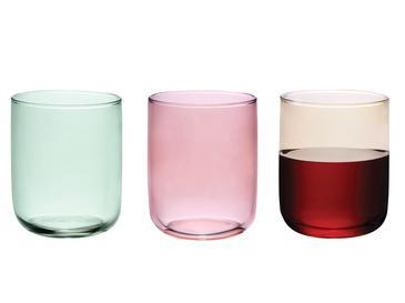 Rosalinda Cam 3'lü Meşrubat Bardağı 270 Ml Pembe - Sarı - Yeşil