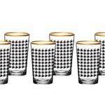 Denby Pied De Poule Cam 6'lı Kahve Yanı Su Bardağı 100 Ml Siyah-gold