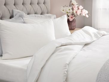Stripe Çizgili Pamuk Saten Nevresim Takımı 200x220 Cm Beyaz