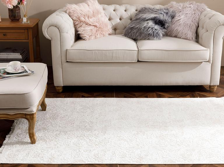 Şal Desen Polyester Halı 120x180 Cm Ekru