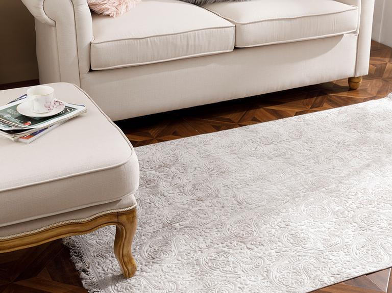 Şal Desen Polyester Halı 80x150 Cm Vizon