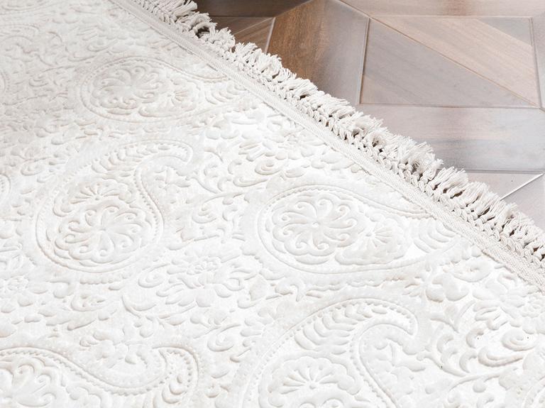 Şal Desen Polyester Halı 80x150 Cm Ekru