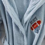 Skateboard Pamuk Çocuk Bornoz 8-10 Yaş Mavi
