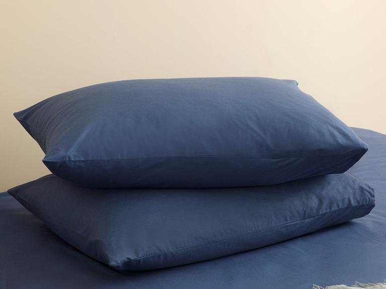 Düz Penye Çift Kişilik Lastikli Çarşaf Takımı 160x200 Cm Gece Mavisi
