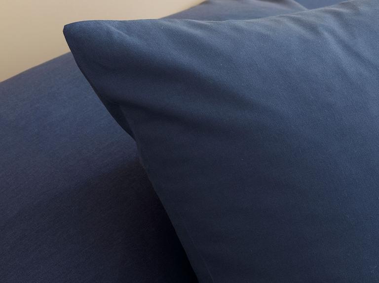 Düz Penye King Size Lastikli Çarşaf Takımı 180x200 Cm Gece Mavisi