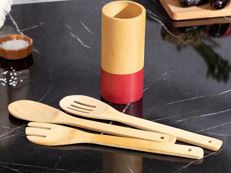 Lina Bambu 4 Parça Servis Seti 7x16 cm Bordo