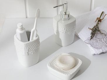 Bright Seramik Banyo Seti 7x7x10 Cm Beyaz