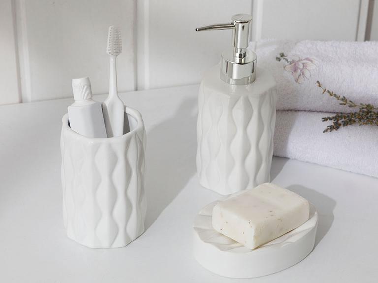 Eidola Seramik Banyo Seti 7x7x10 Cm Beyaz
