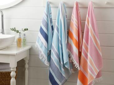 Sea Dreams Çizgili 4'lü Banyo Havlusu Takımı 50x80+70x150 Cm Renkli