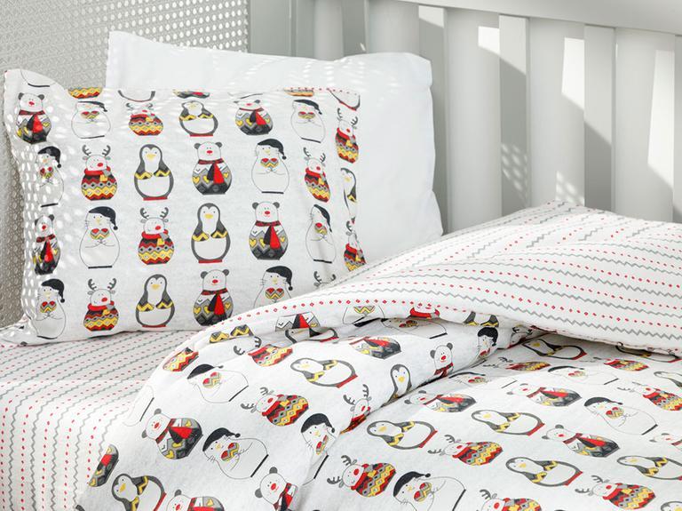 Penguins Flanel Bebe Nevresim Takımı 100x150 Cm Gri